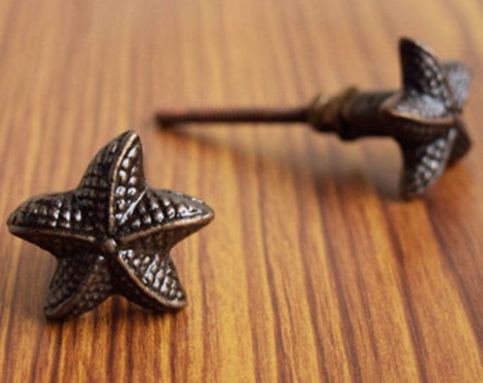 Antique Bronze Cast Iron Starfish Knob