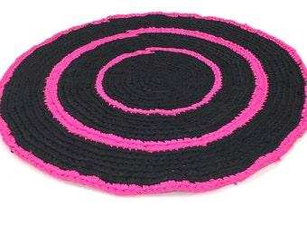 black pink rag rug etsy. Black Bedroom Furniture Sets. Home Design Ideas