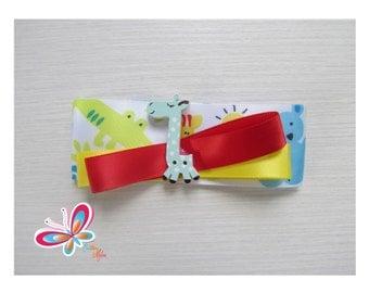 Clip hair giraffe yellow/red tape