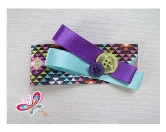 Clip hair purple/yellow button and Ribbon Blue-Lilac-diamond
