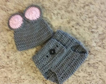 Mouse Hat and Diaper Cover Handmade Crochet