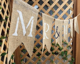 SALE! CUSTOM Burlap Banner - brown or grey burlap - personalize/design your own banner - rustic wedding/birthday/party banners - mr and mrs