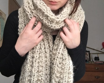 Oatmeal Ribbed Scarf, Chunky Knits
