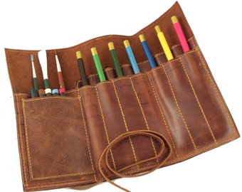 Leather Pencil Case | Pen Case, Pencil Pouch, Pencil Wrap, Gifts For Artists, Colored Pencil Holder, Pencil Roll, Tool Roll, Leather Pen