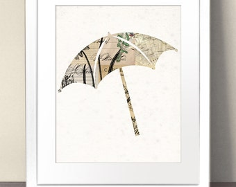 UMBRELLA Silhouette Paper Art Print Picture Size A3 A2 A1 Vintage Antique Illustration Weather Forecast Rain Storm Mary Poppins Raining