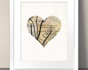 LOVE HEART Paper Art Print Picture Size A3 A2 A1 Vintage Antique Illustration Shape Silhouette Lovers Romance Romantic Pink Valentines