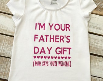 Father's Day Gift Girl Puff Sleeve Tee - I'm Your Father's Day Gift