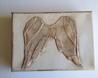 Angel Wings Original handmade Angel Wings painting acrylic art on canvas neutral colors