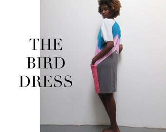 PDF dress pattern & tutorial - THE BIRD 2.0 - a great way to recycle T-shirts !!!