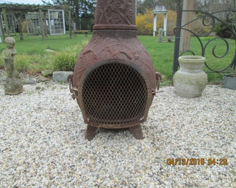 Vintage Cast Iron Extra Large Chimenia Fire Pit.  This is one old rusty chiminea.  Still Solid & Raedy To Fire Up.