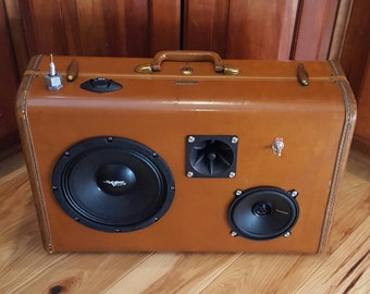 Brown Suitcase Speaker Boom Box by The Vintage Tin