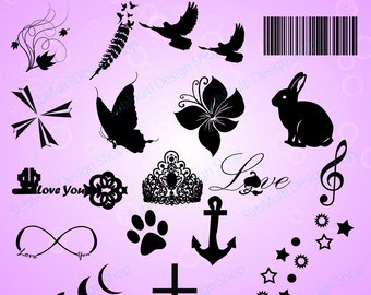Tattoo silhouette/ Commercial and personal use / printable tattoo / icon / vector tattoo png /mini tattoo / micro tattoo / girls tattoo