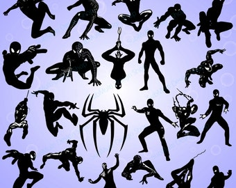 spiderman silhouette / 24 spiderman / spiderman SVG / EPS / PNg formats / Dxf/ spiderman vector / printables / silhouette library / HQ