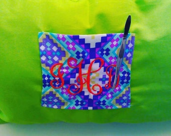 Monogrammed, Embroidered, Decorative Pillows with Pocket for Tweezers, Phone