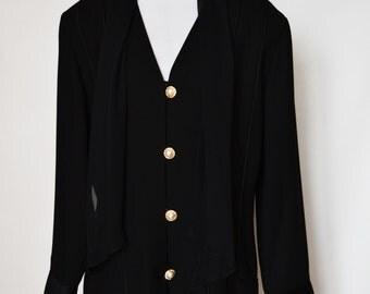 Vintage Black Blazer Women's Blazer Black Jacket Blazer and Scarf By Collections Size 18