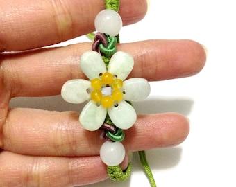 Jade flower bracelet / green / Adjustable