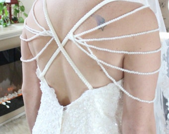 Removable Straps Wedding Dress / Pearl Wedding Dress / Strapless Sweetheart Wedding Dress / Sparkling Wedding Gown / Glamorous Wedding Dress