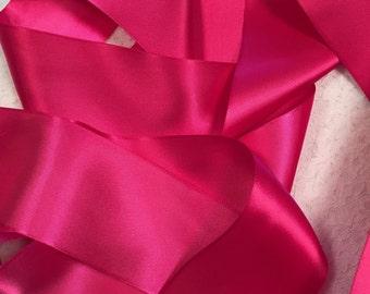 Pink Satin Ribbon/Azalea Satin Ribbon/Fuchsia Bridal Belt/Pink Wedding Sash/Fuchsia Flower Girl/Pink Wedding Decor/Pink Ribbon/Azalea Ribbon