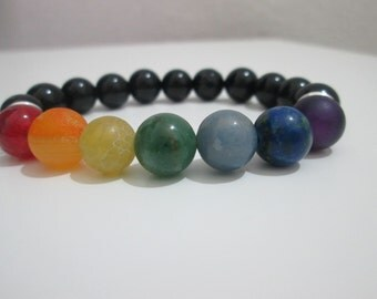 Bracelet seven chakras, Bracelet Onyx, Yoga, Yoga bracelet, Chakra bracelet, gift, gift for women, bracelet of meditation, energy healing