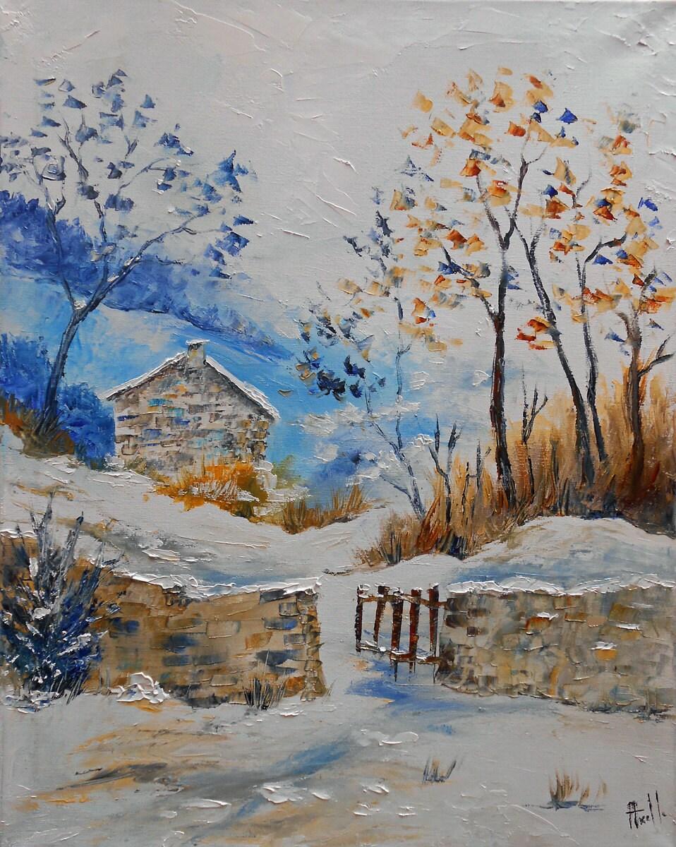 tableau paysage neige maison dans la montagne huile au couteau. Black Bedroom Furniture Sets. Home Design Ideas