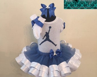 Girls Majestic Blue and White Jumpman Jordan Tutu Ensemble