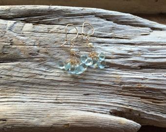 Aquamarine and Peal 14k Gold Earrings