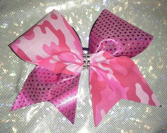 Pink Camo and Hot Pink Bow