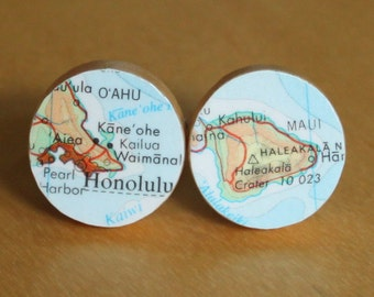 Hawaii Honolulu Oahu Maui Handmade Recycled Map Cuff Links