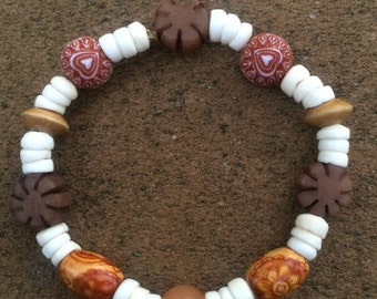 Puka Shell, Buri Nut, & Wooden Bead Bracelet
