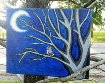 Midnight Owl acrylic canvas painting
