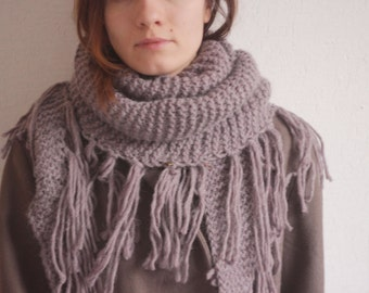 Hand knit scarf. Hand knit bactus with fringe. Alpaca scarf.