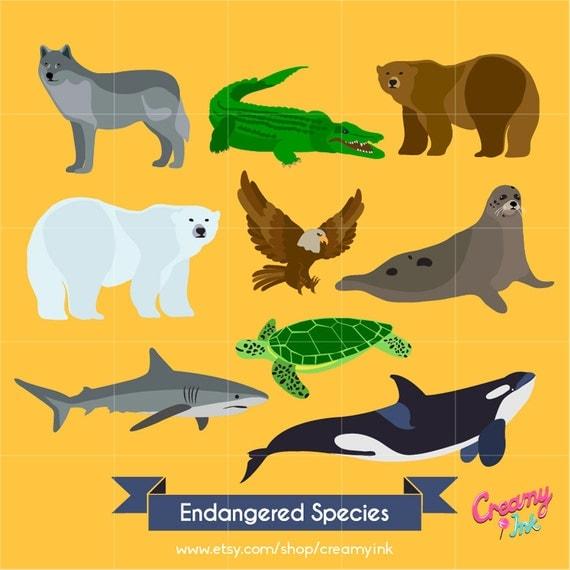 Endangered Animals Digital Vector Clip art / Endangered