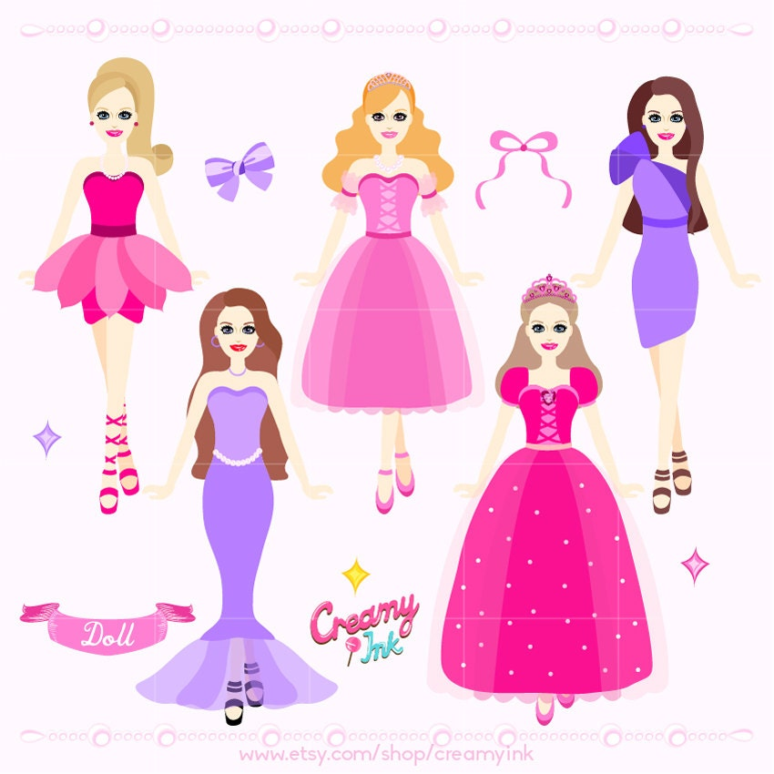 Doll Digital Clip Art Princess Dolls Digital Clipart Design