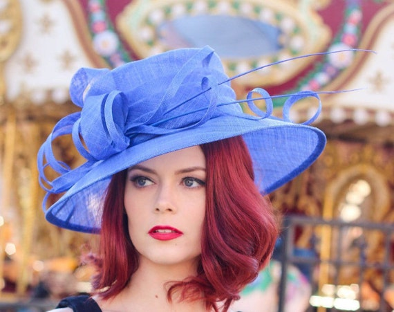 Royal Blue Kentucky Derby Hat, Church hat, Tea Party Hat, Blue Hat, Formal Hat, Fashion Hat, Church Hat, Derby Hat