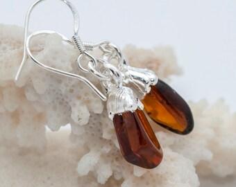 Garnet earrings, Brown hessonite garnet earrings, OOAK, handmade earrings, natural stone, gemstone, silver plated, 49/10