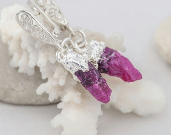 Wedding Jewelry: Natural crystal Earrings with Raw natural ruby plated silver - unique gift for women and girls