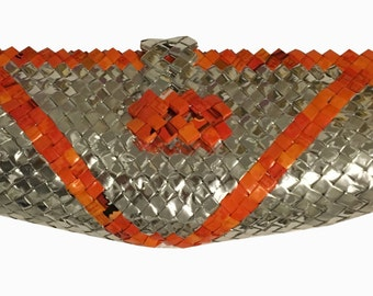 recycled silver and orange clutch