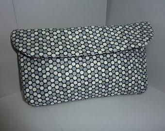 "Silver, Black & White Clutch Handbag 6"" x 10 1/2"""