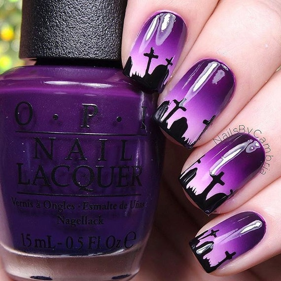 Graveyard Stencils for Nails Halloween Nail by WhatsUpNails
