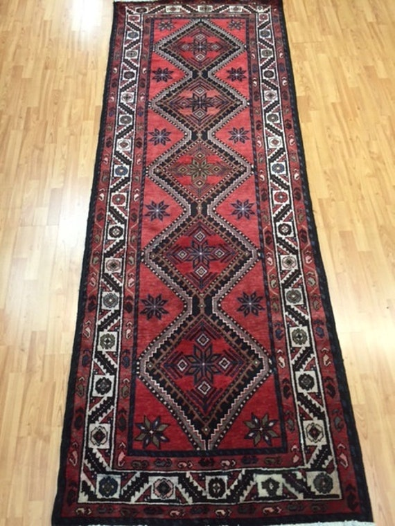 "3'8"" x 9'9"" Persian Khamseh Floor Runner Rug - Hand Made - 100% Wool - Vintage - 1980s"