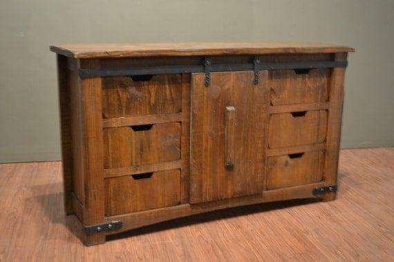 rustic solid reclaimed wood tv stand media center with sliding. Black Bedroom Furniture Sets. Home Design Ideas