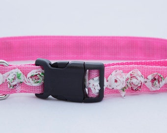 Dog Collar, Pink with White Roses