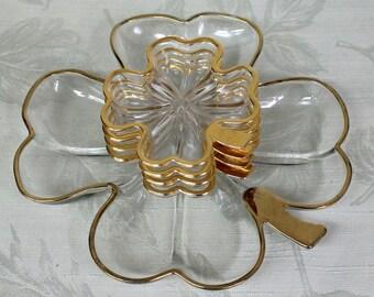 Vintage Glass Shamrock Snack Set, 5 Piece Four Leaf Clover Hostess Serving Dishes, 1950's Gold Trimmed Clear Glass Shamrock Luncheon Set