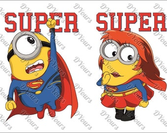 Minions Supermans Hero Vector Model - svg cdr ai pdf files - Instant Download Files for Laser Cutting Printing CNC Cut Engraving Clipart