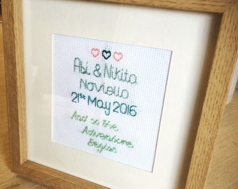 Hand stitched wedding gift, personalised for couple.