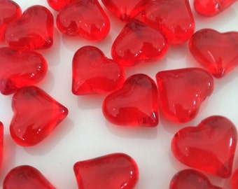Red Heart Table Scatters/Table Top Confetti, Vase Fillers 50pcs/23mm For Wedding, Bridal Shower, Valentine, Home Decor
