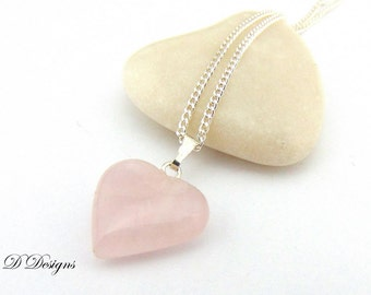 Heart Necklace, Rose Quartz Necklace, Pink Stone Necklace, Sterling Silver Necklace, Gifts for her,