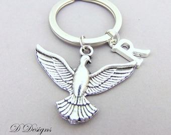 Dove KeyRing, Dove KeyChain, Bird KeyChain, Personalised Dove Key chain, Bird Gifts