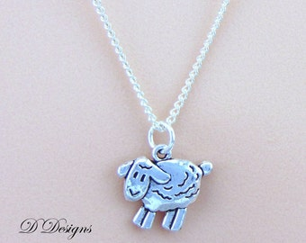 Sheep Necklace, Silver Sheep Pendant, Sheep Charm Necklace, Silver Charm Necklace, Silver Necklace, Trendy Necklace, Animal Necklace