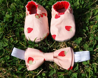 Baby booties and Bow tie headband set